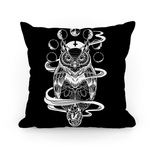 Witch's Owl Under the Phases of the Moon Pillow