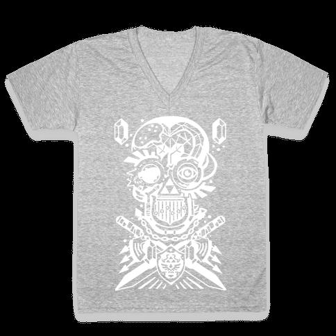 Legend Of Zelda skull V-Neck Tee Shirt