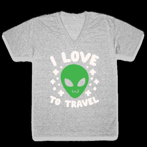 I Love To Travel V-Neck Tee Shirt