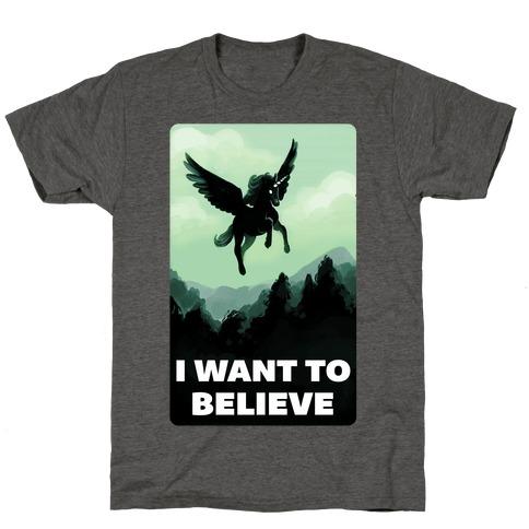 Winged Unicorn: I Want To Believe Parody T-Shirt