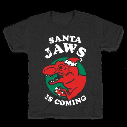 Santa Jaws Is Coming (T-Rex) Kids T-Shirt