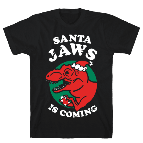 Santa Jaws Is Coming (T-Rex) Mens T-Shirt
