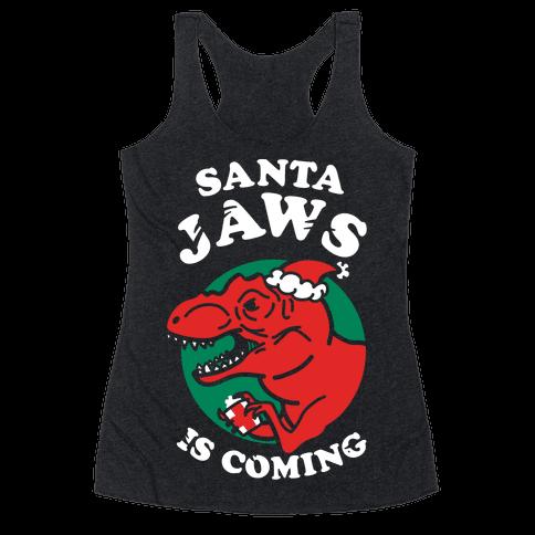 Santa Jaws Is Coming (T-Rex) Racerback Tank Top