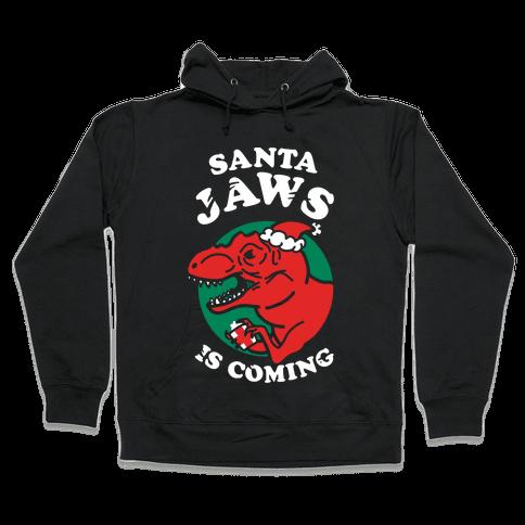 Santa Jaws Is Coming (T-Rex) Hooded Sweatshirt