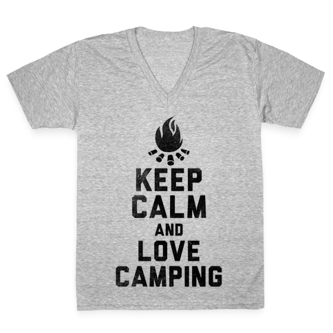 Keep Calm and Love Camping V-Neck Tee Shirt