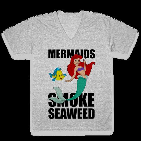 Mermaids Smoke Seaweed V-Neck Tee Shirt