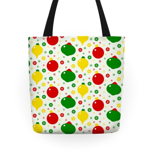 Christmas Ornament and Snowflake Pattern Tote