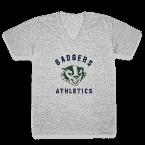 Badgers Green & Navy V-Neck Tee Shirt