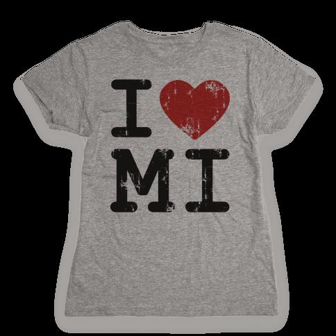 I Love Michigan Womens T-Shirt