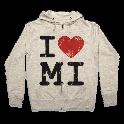 I Love Michigan Zip Hoodie