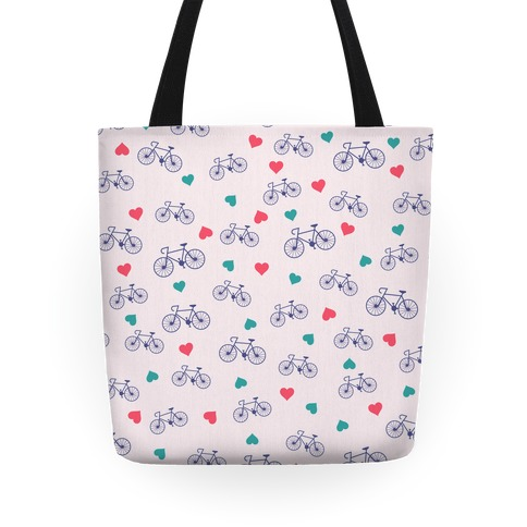 Bikes and Heart Pattern Tote