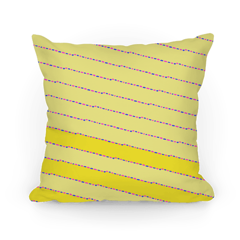 Yellow Diagonal Dashed Stripes Pattern Pillow