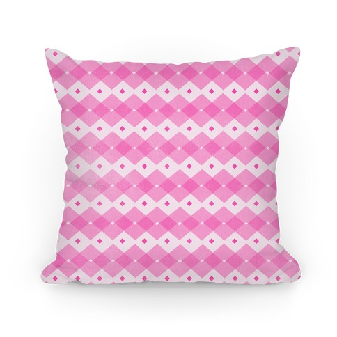Pink Checkered Pattern Pillow