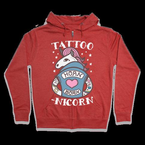 Tattoo-nicorn Zip Hoodie