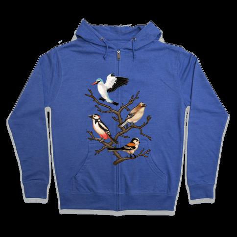 Woodland Birds Zip Hoodie