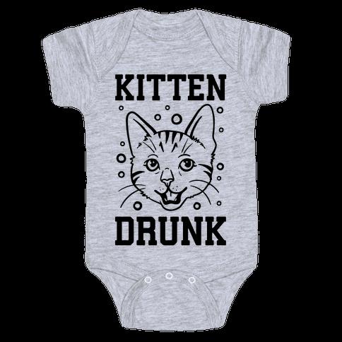 Kitten Drunk Baby Onesy