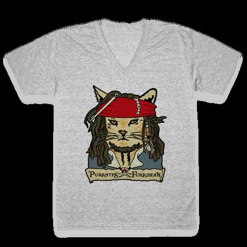 Cats of the Caribbean V-Neck Tee Shirt