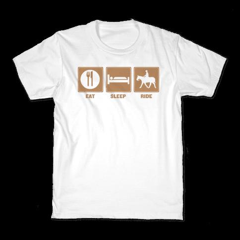 Eat, Sleep, Ride (Tan) Kids T-Shirt