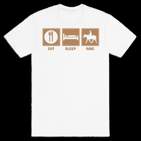 Eat, Sleep, Ride (Tan) Mens T-Shirt