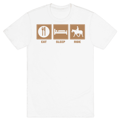 Eat, Sleep, Ride (Tan) Mens T-Shirt