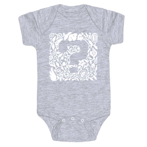 Floral Question Block Baby Onesy
