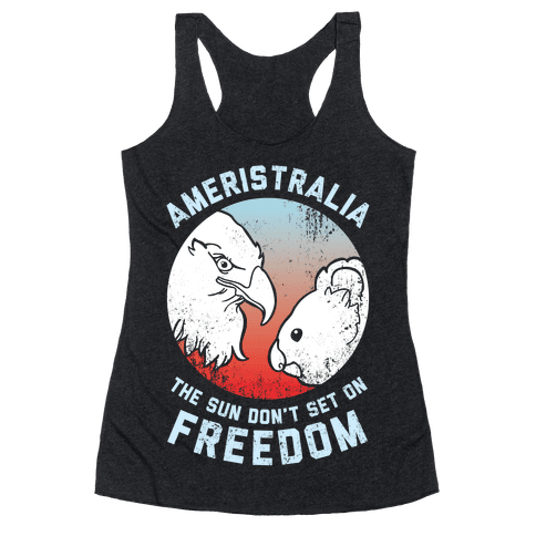 The Sun Don't Set On Freedom (Patriotic Ameristralia) Racerback Tank Top