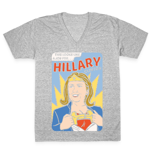Super Hero Hillary Clinton V-Neck Tee Shirt