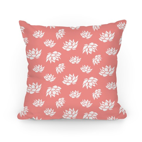 Pink Lotus Flower Pattern Pillow