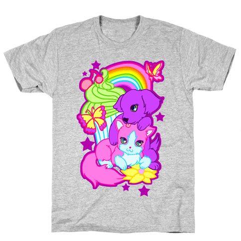 Double Trouble Rainbow Kitty & Puppy Mens T-Shirt