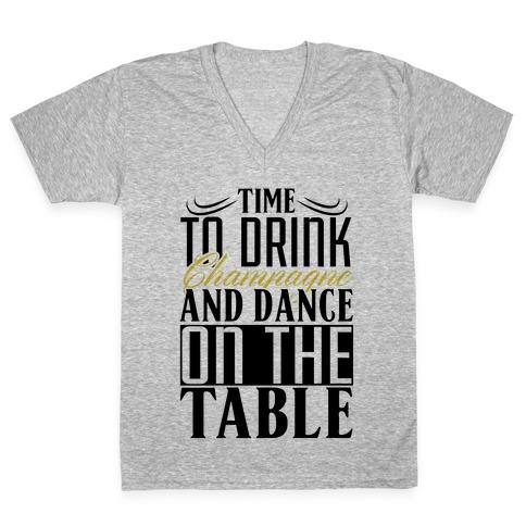 Champagne Drinking V-Neck Tee Shirt