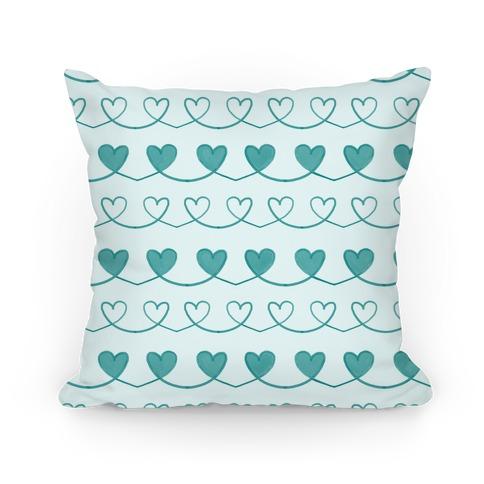 Teal Heart Doodle Pattern Pillow
