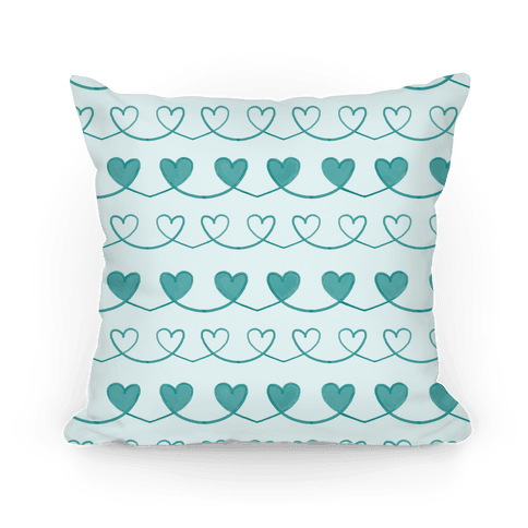 Teal Heart Doodle Pattern Pillow