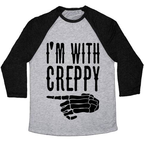 I'm With Spoopy & I'm With Creppy Pair 2 Baseball Tee