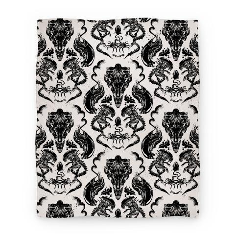 Xenomorph Blanket Black and White Blanket