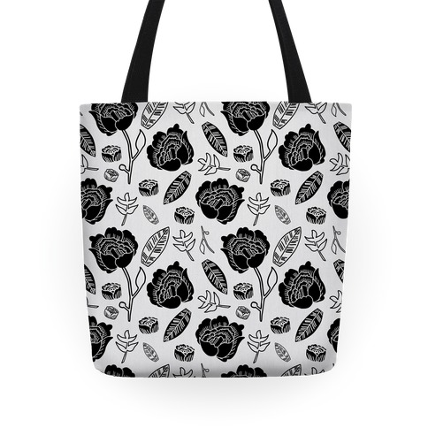 Floral and Leaves Pattern (Gray) Tote