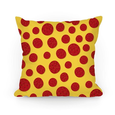 Pepperoni Pizza Topping Pattern Pillow