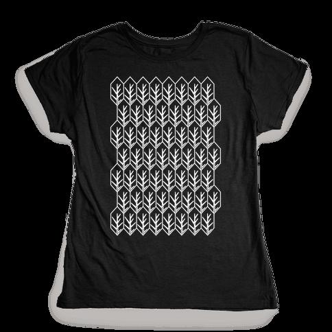 Geometric Fall Leaf Pattern Womens T-Shirt