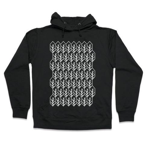 Geometric Fall Leaf Pattern Hooded Sweatshirt