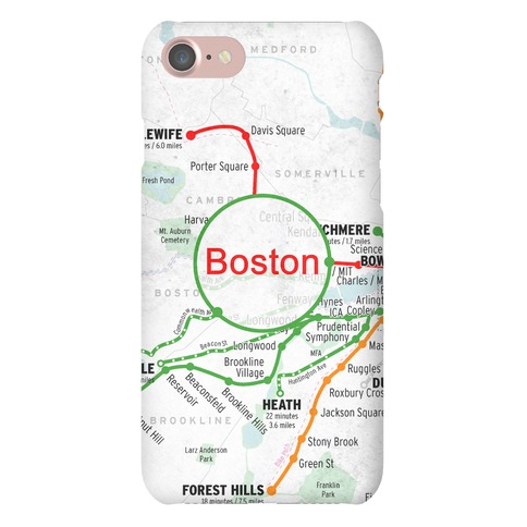 Boston Transit Map Phone Case
