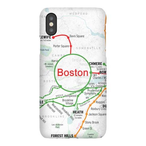 Boston Transit Map Phone Case