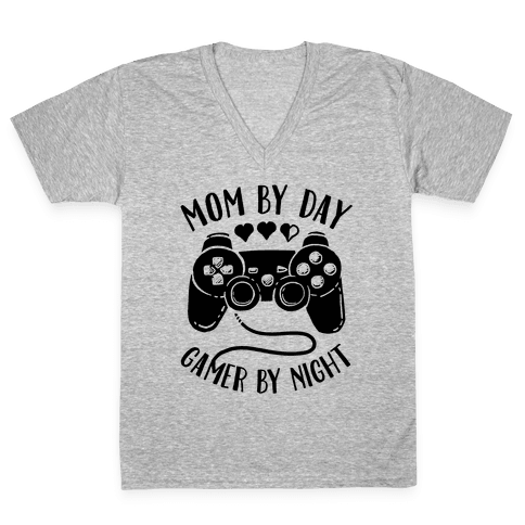 Mom By Day Gamer By Night V-Neck Tee Shirt
