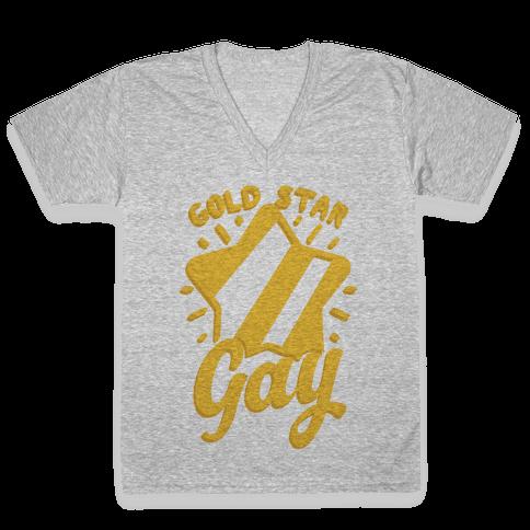 Gold Star Gay V-Neck Tee Shirt