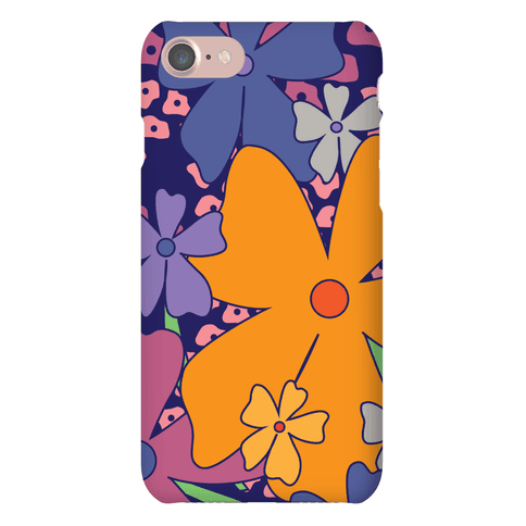 Navy Happy Flowers Pattern Phone Case