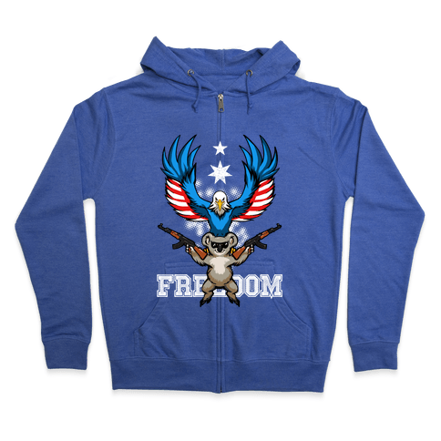 Ameristralia: TASTE THE FREEDOM (Text) Zip Hoodie