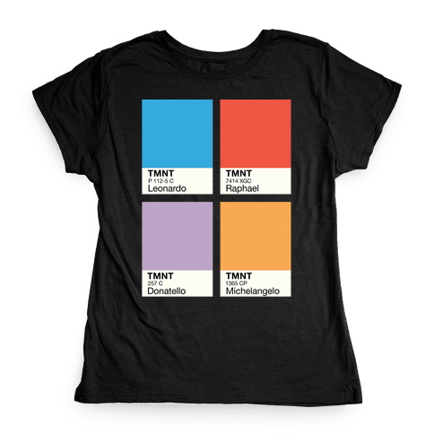 Ninja Color Swatch Parody Womens T-Shirt