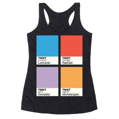 Ninja Color Swatch Parody Racerback Tank Top