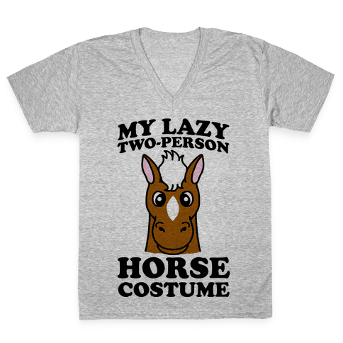 My Lazy Two-Person Horse Costume (head) V-Neck Tee Shirt