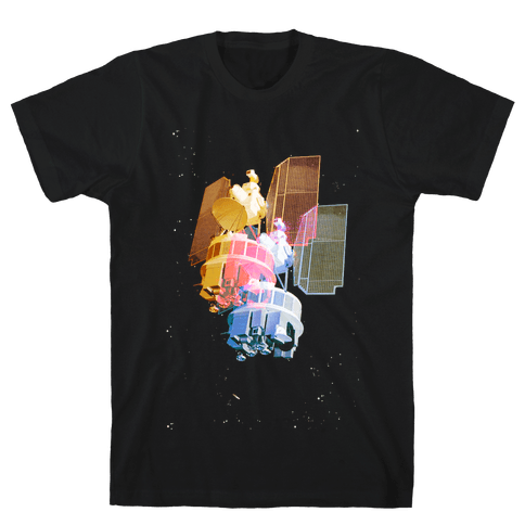 TriColor Space Satellite Mens T-Shirt