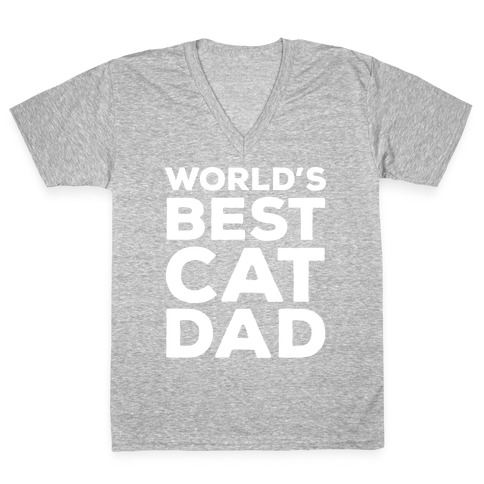 ca168006 World's Best Cat Dad V-Neck Tee | LookHUMAN