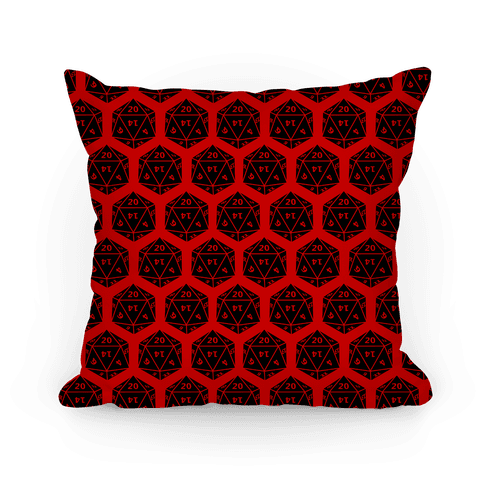 D20 Pillow (Black Dice) Pillow